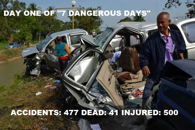 "Day One of Thailand's ""7 Dangerous Days"" – 477 Accidents, 41 Dead, 500 Injured"