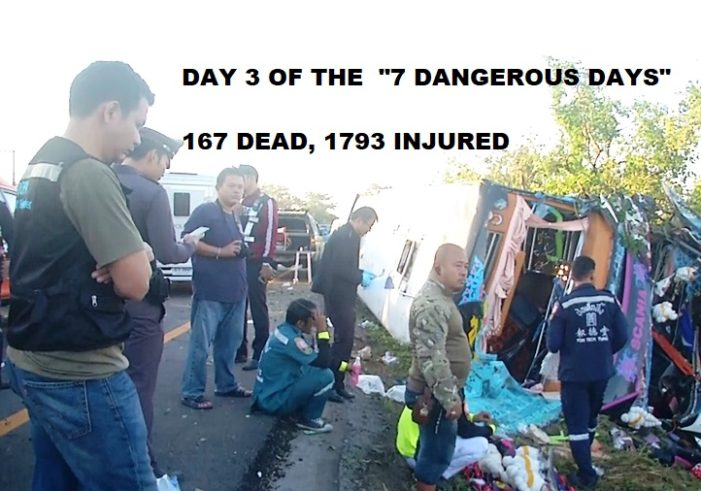 """On Third Day of Thailand's New Years """"Seven Dangerous Days"""" 167 Killed, 1793 Injured"""