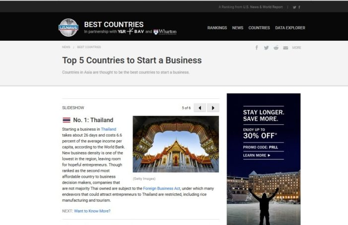 U.S. News and World Reports Votes Thailand as Best Country to Start a Business