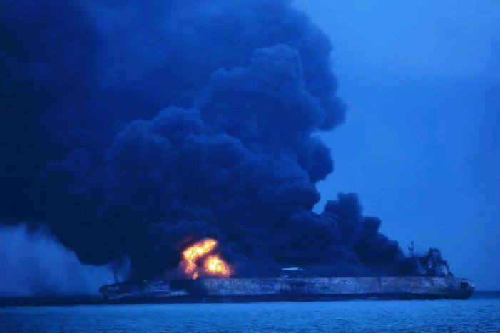 Iranian Oil Tanker Ablaze after Colliding with Chinese Cargo Ship, 32 Crew Missing
