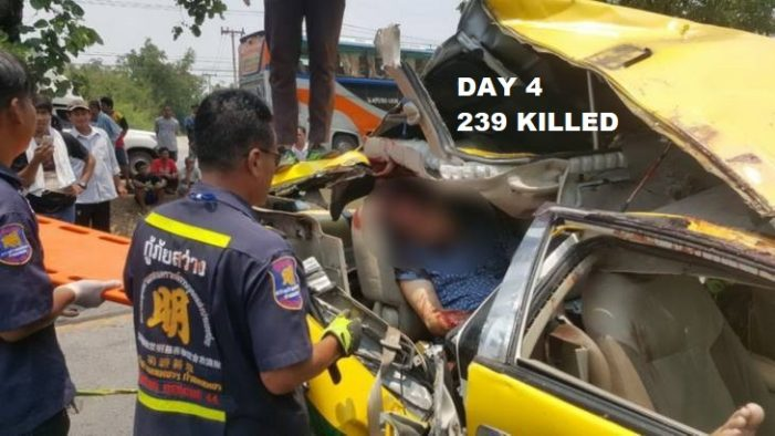 "On Day 4 of Thailand's New Years ""7 Dangerous Days"" 239 Dead, 2500 Injured"