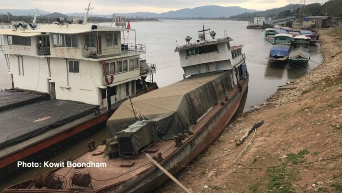 Navigation Warning on Mekong River as Water Level Recedes in Chiang Rai