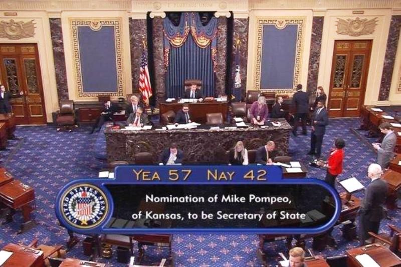 Former CIA Director Mike Pompeo Confirmed by US Senate for Secretary of State