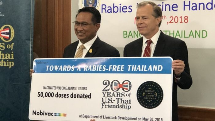 US Embassy Donates 50,000 Doses of Rabies Vaccine to Thailand