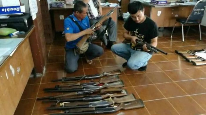 Chiang Rai Provincial Police Inspect Over 300 Legally Registered Weapons after Ambush Shooting of Wiang Kaen District Headman