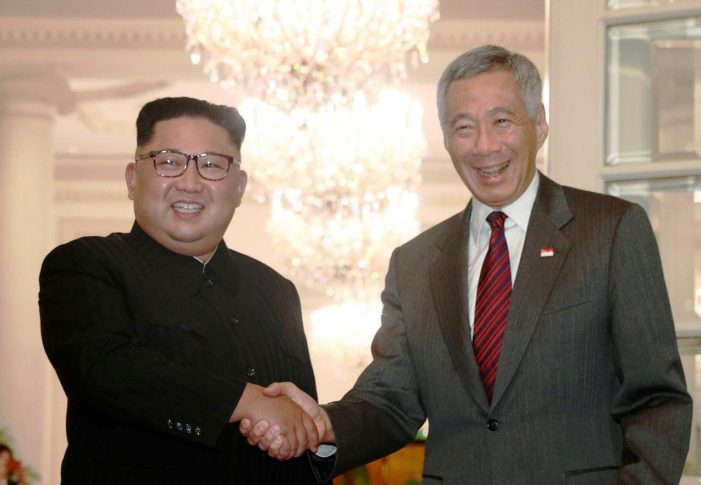 Singapore Prime Minister Greets North Korean Leader Kim Jong Un as Singapore Prepares to Host a Historic Summit