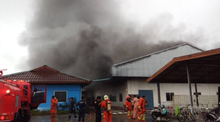 Fire Fighters Called Out to Warehouse Fire in Mueang Chiang Rai