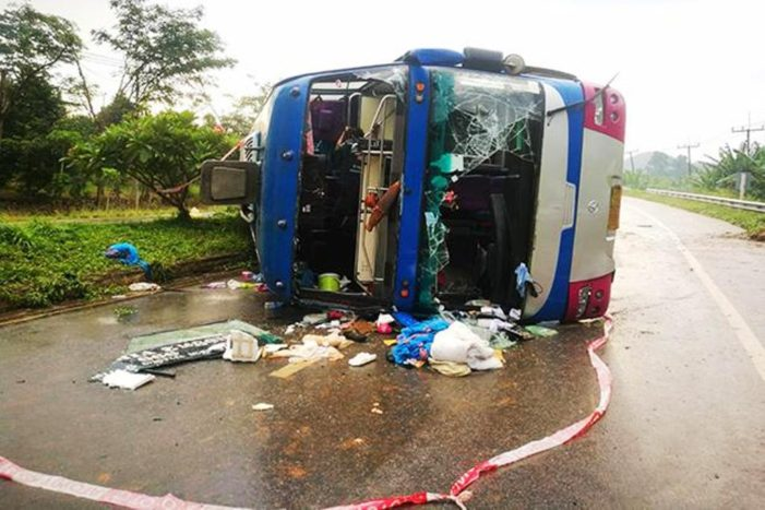 Double Decker Tourist Bus Flips in Southern Thailand Injuring 15 Passengers