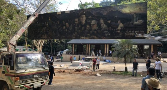 Cave Rescue Painting Moved to Tham Luang-Khun Nam Nang Non Forest Park for Installation