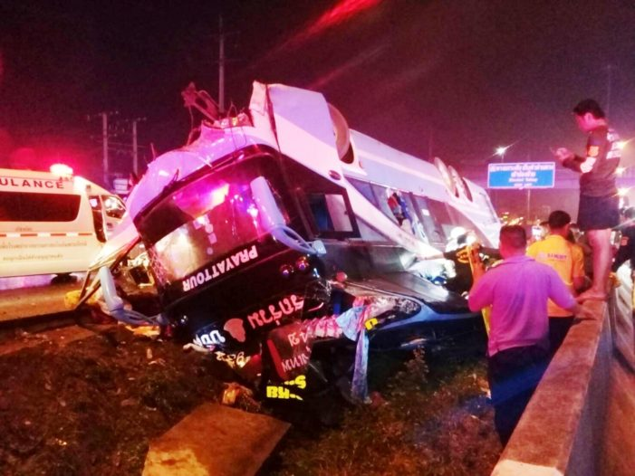 Double Decker Bus Crashes in Central Thailand, Killing Six Passengers Including a Five-Month-old Baby