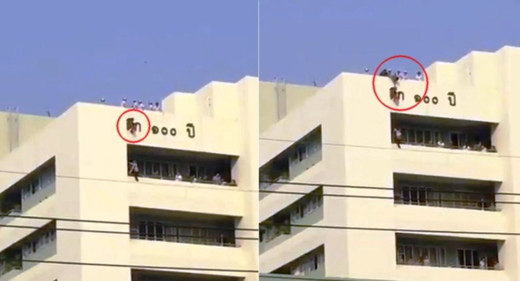VIDEO: Building Sign Saves 4 Year-Old Girl from Falling from Hospital Rooftop
