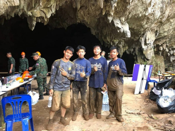 Members of the Wild Boars (Moo Pa) Soccer Team Assist in Recovery of Rescue Equipment at Tham Luang cave