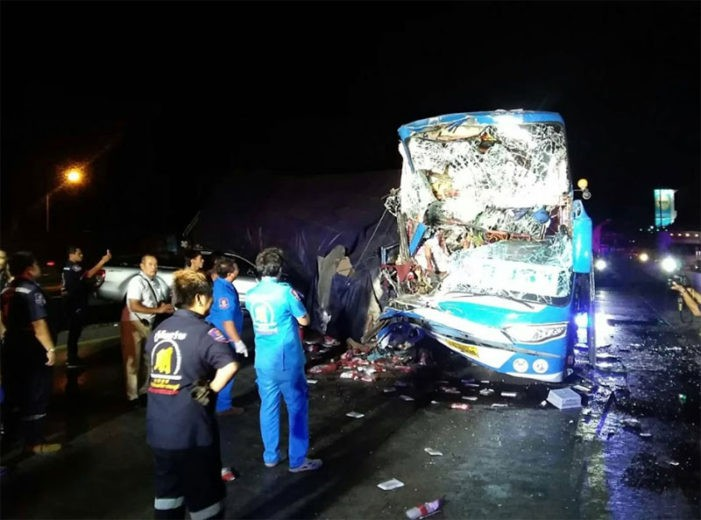 Passenger Bus Crashes into Rear of Freight Truck, Crushing Driver to Death in Central Thailand