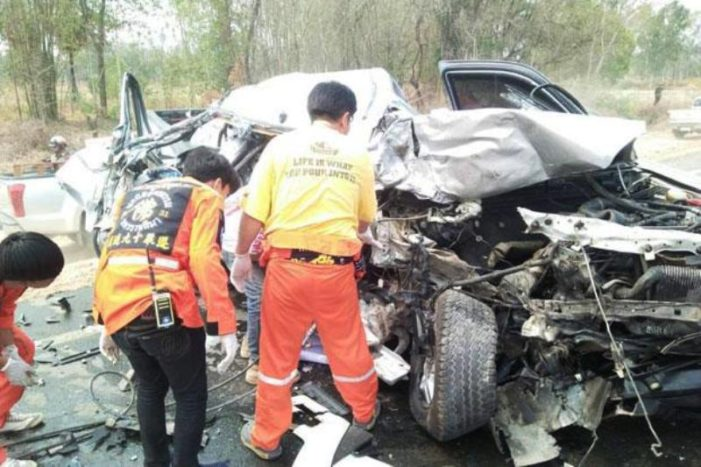 Couple Killed, Young Daughter Injured in Head-on Collision in Northeastern Thailand
