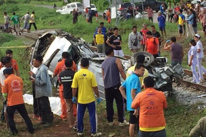 Father, Daughter Killed After Pickup Collides With Cargo Train in Southern Thailand