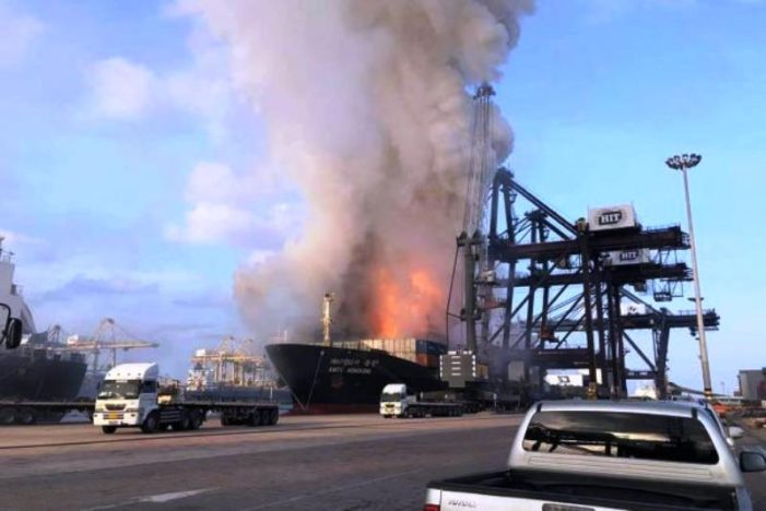 VIDEO: South Korean Container Ship Explodes then Bursts into Flames at Thailand's Laem Chabang Sea Port