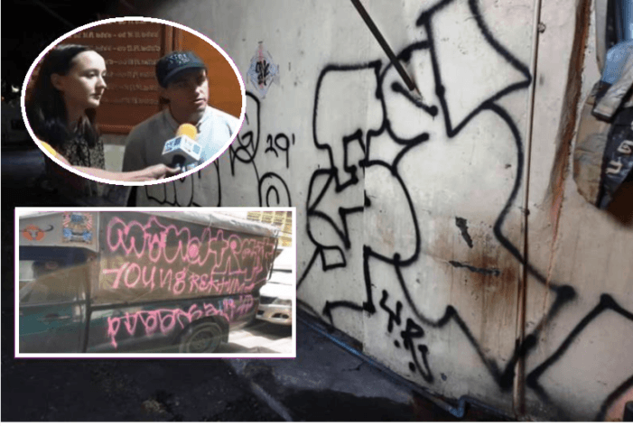American Tourists Arrested for Spray Painting Graffiti on Vehicles and Walls in Bangkok, Thailand