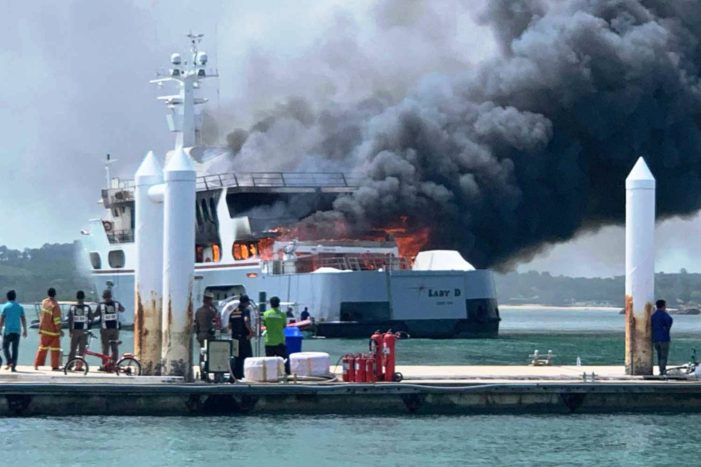 US $3.2 Million Super Yacht Lady-D Gutted By Flames in Phuket Thailand