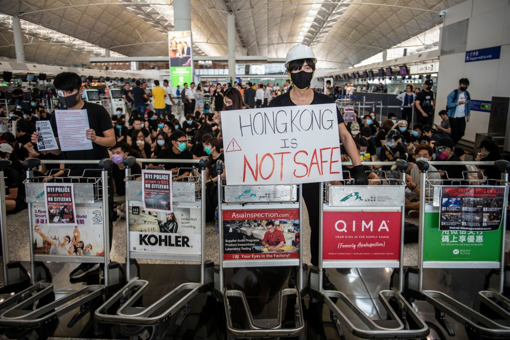 Hong Kong Cancels Flights as Protests Swarm Airport