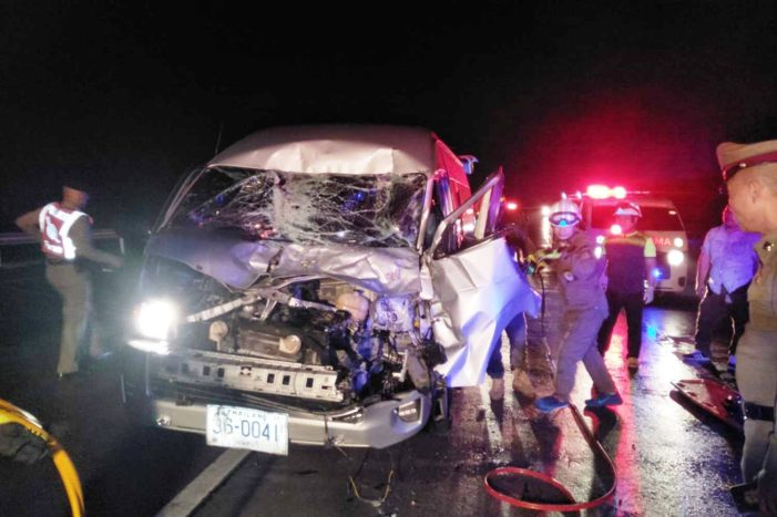 Passenger Van Crashes into Rear of Freight Truck Injuring Six Tourists
