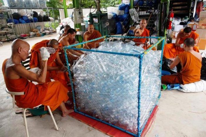 Thailand Monks Adorn Robes Made from Recycled Plastic Bottles