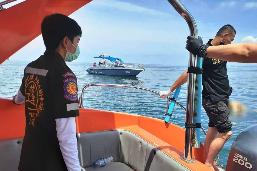 dead foereigner, krabi, thailand, floeating in ocean