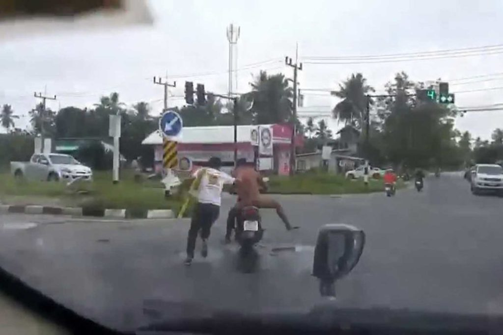 Man Completely Naked Steals Woman's Motorcycle at Intersection
