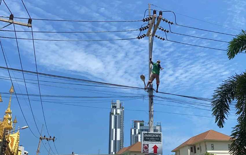 Protest up power pole in Pattaya