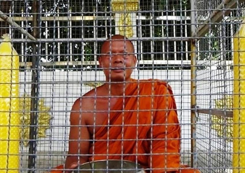 Temple Monk, Thailand, Cage, Punishmnet, Loud Sermons, Thailand