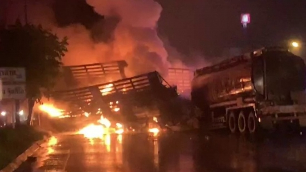 Fuel Tanker Explodes after Collision in Northeastern Thailand