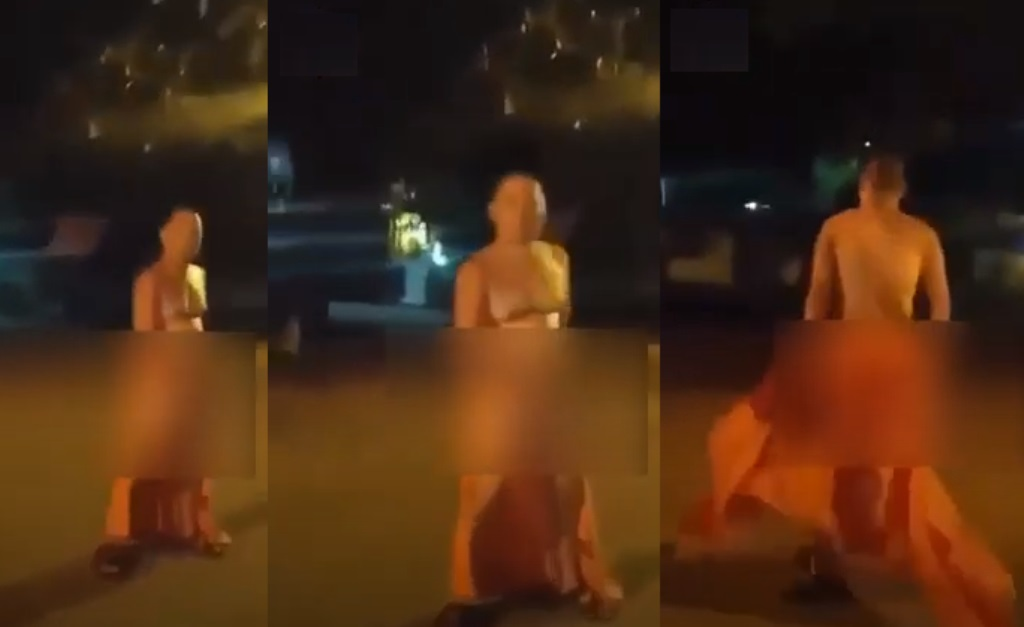 Monk Caught Exposing Himself in Public in Front of Chiang Mai Temple