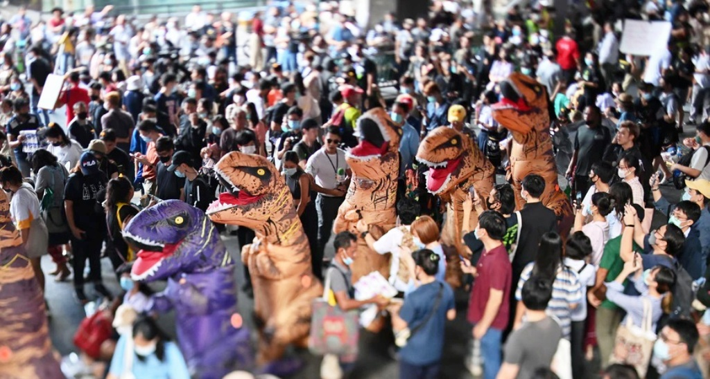 school, protester, student, protests, Thailand, Dinosaur Costumes