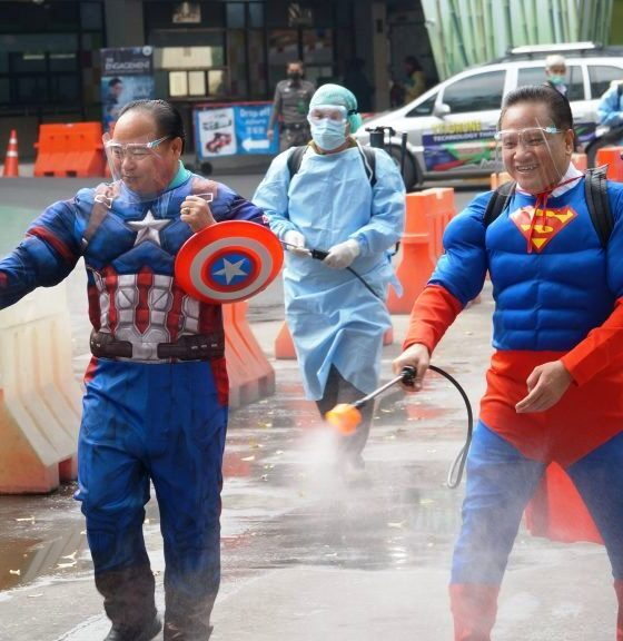 Superman and Captain America Spray Disinfectant at Chiang Mai Zoo