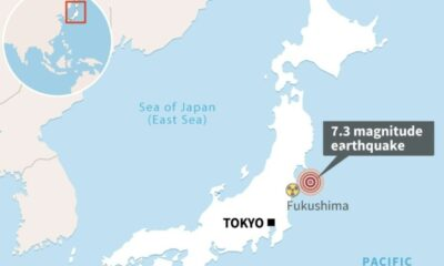 7.3 Earthquake Strikes Northeastern Japan off the Coast of Fukushima