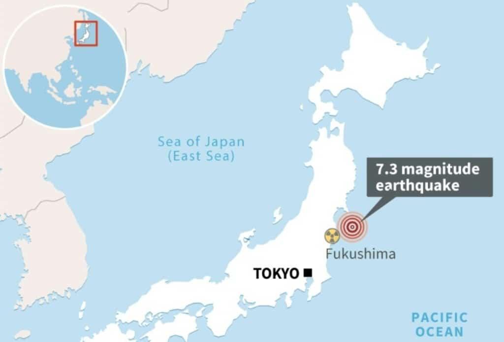 7.3 Earthquake Strikes Northeastern Japan off the Coast of Fukushima