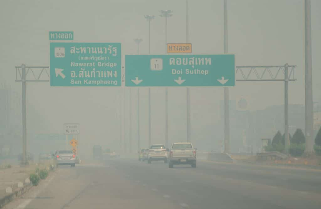 Bushfires Being Blamed for Severe Haze Blanketing Chiang Mai,PM2.5 dust particles