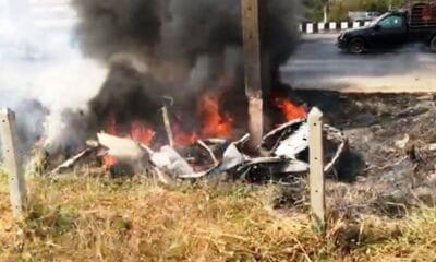 Woman in Honda Sedan Dies in Fiery Car Crash in Central Thailand
