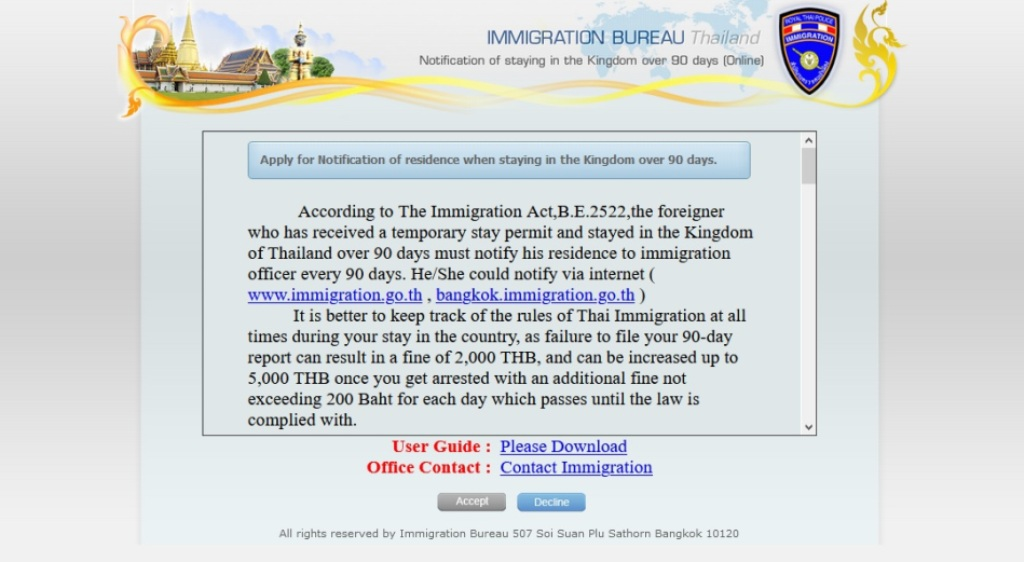 90-day reporting,Thailand, Immigration, Online, Website