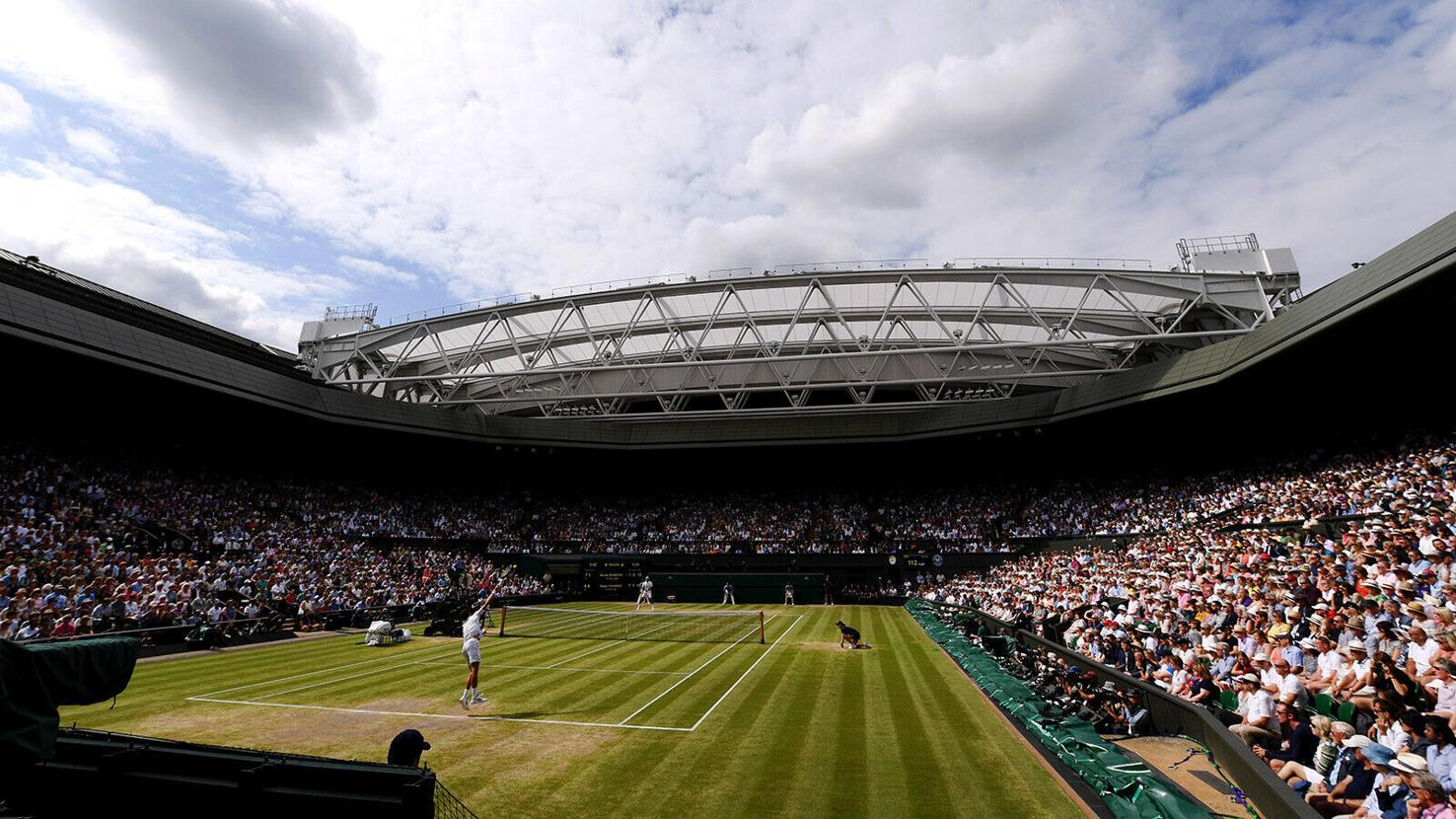 A general view inside Centre Court in the men's singles final between Roger Federer and Novak Djokovic.
