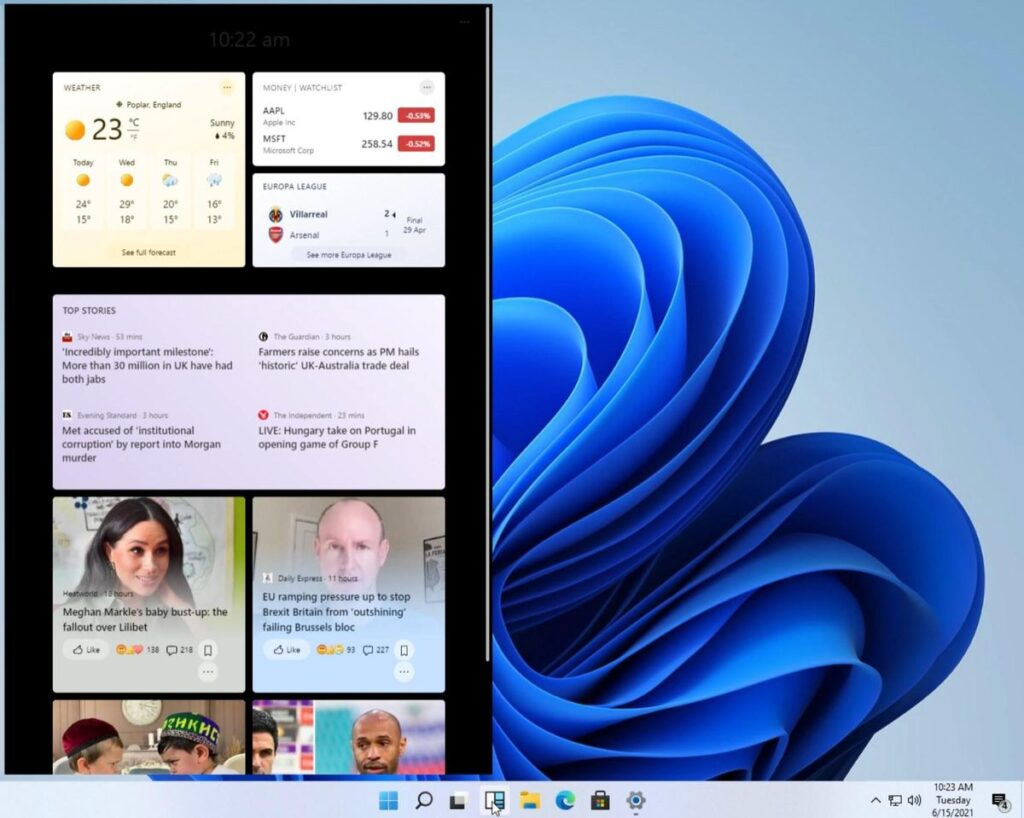 Early version of Windows Widgets in Windows 11.