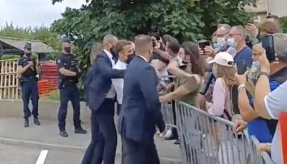 French President Macron Gets Bitch Slapped by Angry Bystander