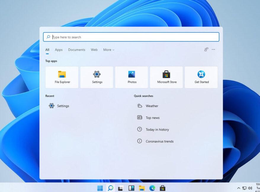 Windows 11's search interface.