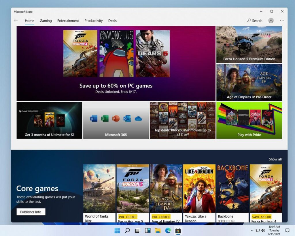 The existing Windows Store in Windows 11.