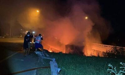 police,Freight Truck Plunges of Bridge and Explodes in Southern Thailand