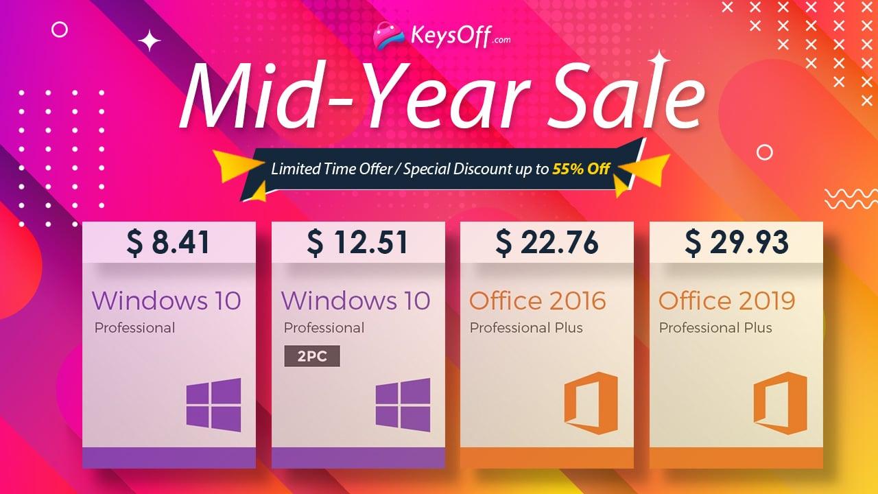 Keysoff Mid-Year Clearance Sale: Windows 10 for 8.41$