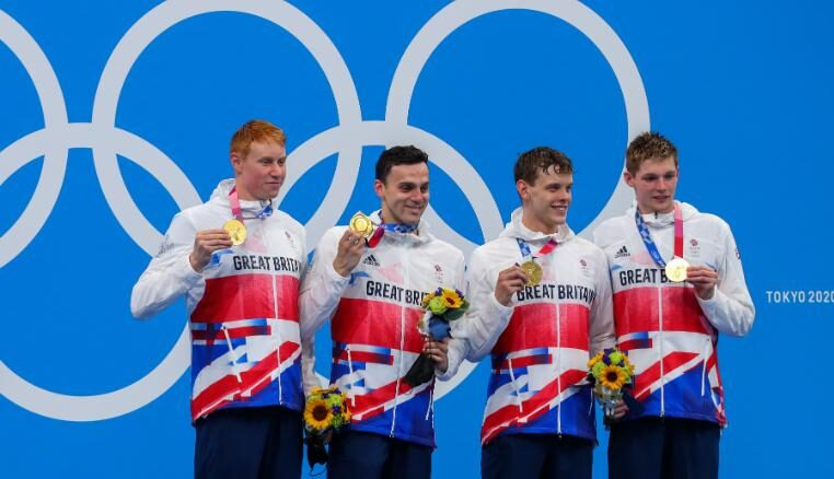 Britain's winning 4x200m relay team from left to right: Duncan Scott, Tom Dean, James Guy and Matthew Richards.