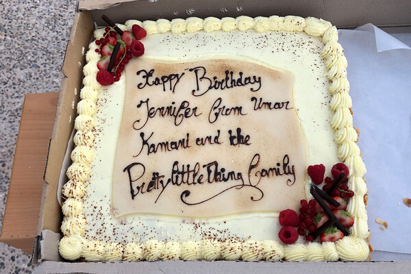 A birthday cake was sent for Lopez to enjoy in St. Tropez.