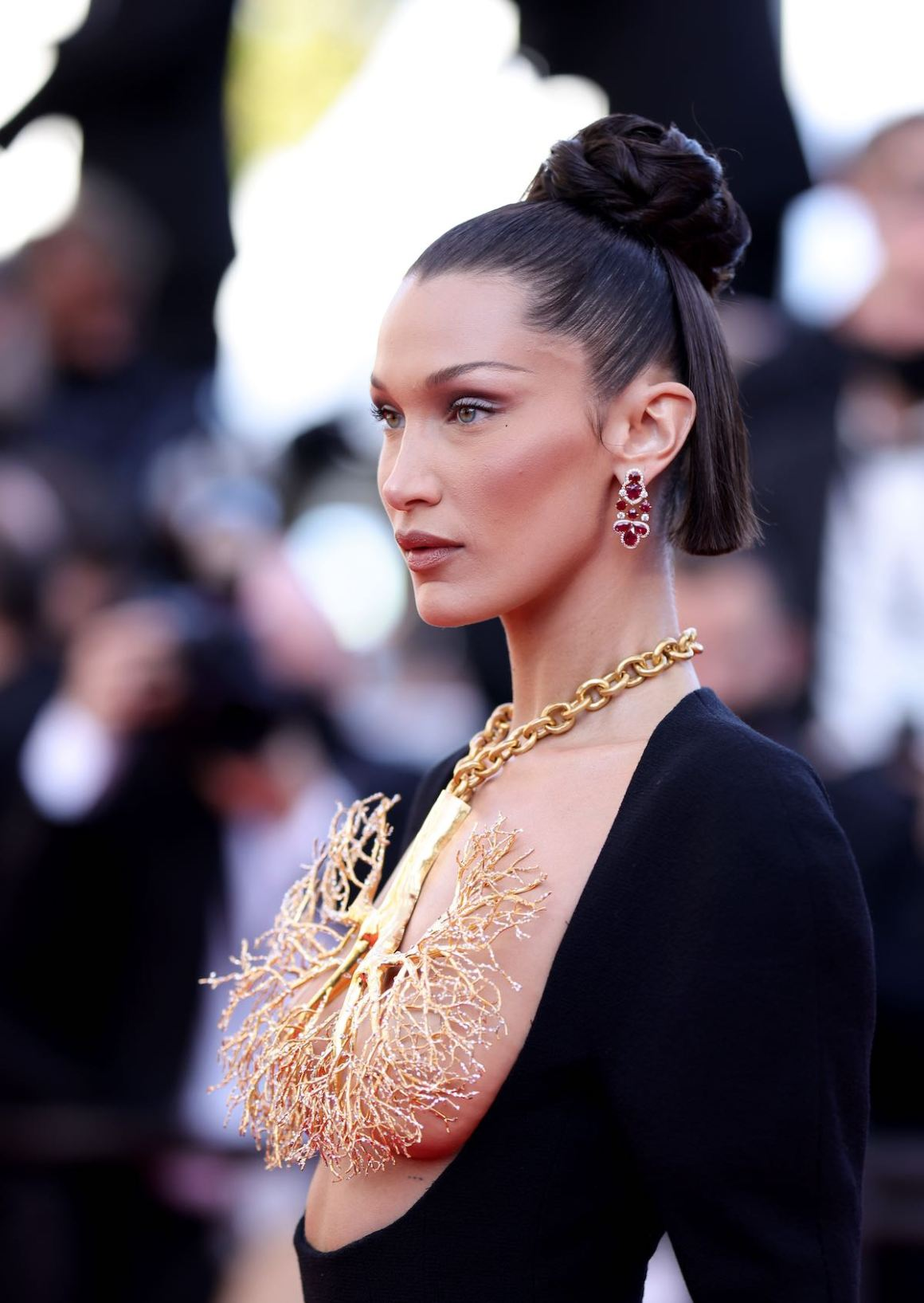 """Bella Hadid attends the """"Tre Piani (Three Floors)"""" screening during the 74th annual Cannes Film Festival on July 11, 2021 in Cannes, France."""