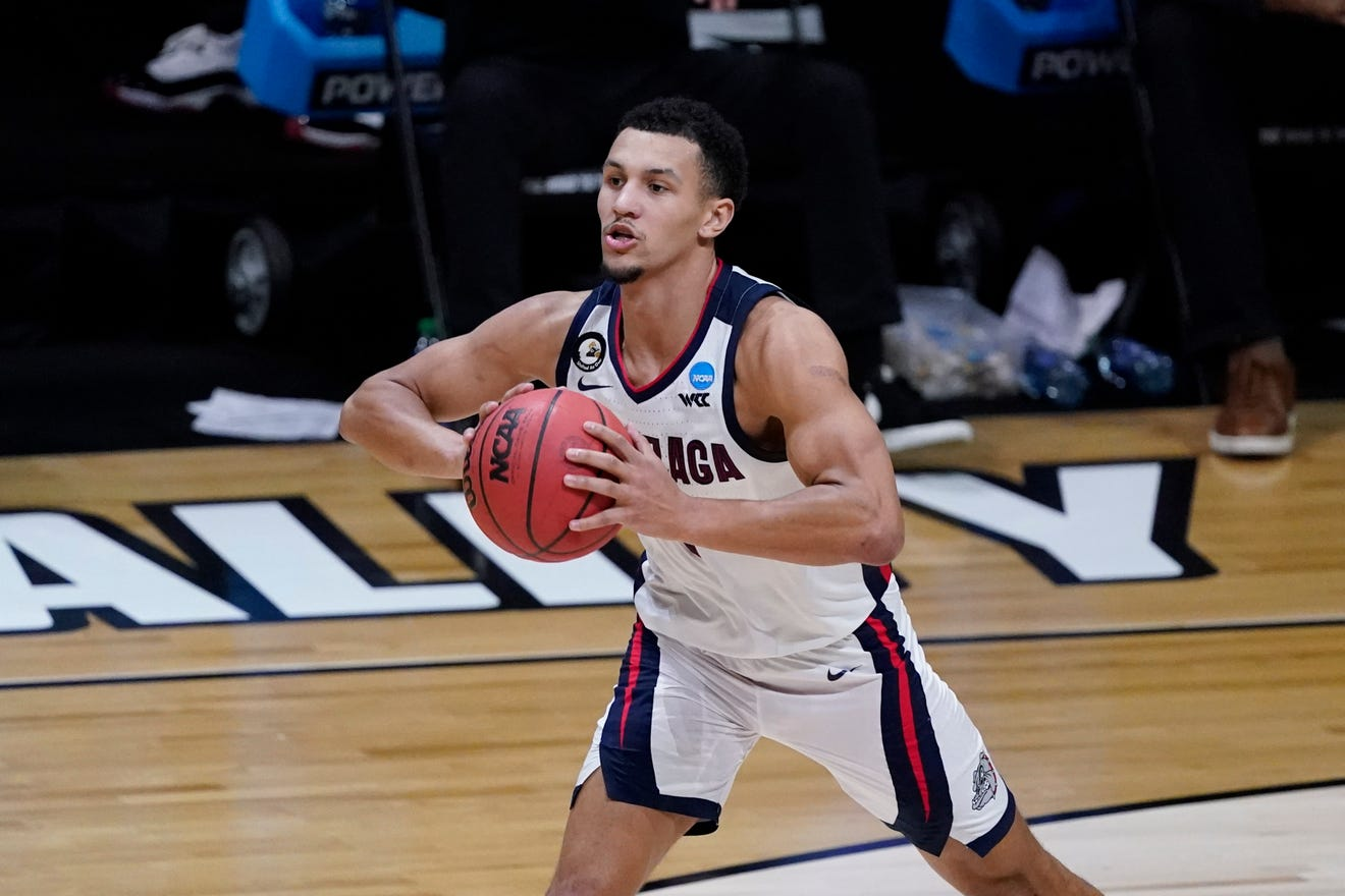 Gonzaga guard Jalen Suggs, pictured during a game on March 30, 2021, is expected to be one of the top five picks in this year's NBA Draft.