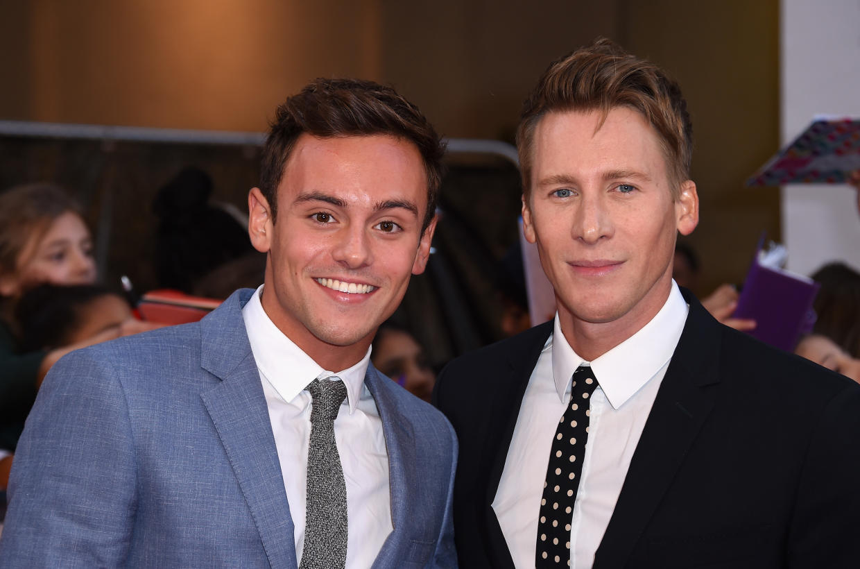 Tom Daley and Dustin Lance Black attend the Pride of Britain awards at The Grosvenor House Hotel on September 28, 2015 in London.